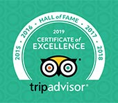 2019 Tripadvisor certificate of excellence award