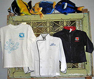 Sam's Tshirts, chef jackets and fleece jackets