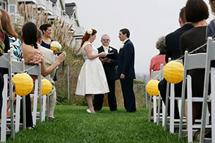 Weddings at Sam's Chowder House Beachfront Lawn